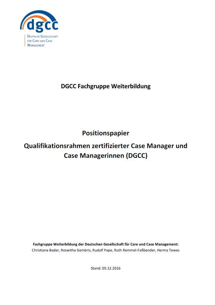 Case Management: Anschluss an den Deutschen Qualifikationsrahmen