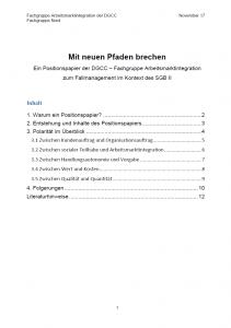 Deckblatt Positionspapier FG Arbeitsmarkintegration