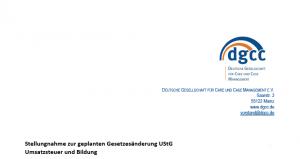 Ausschnitt der Stellungnahme des DGCC-Vorstands zur Umsatzssteuer